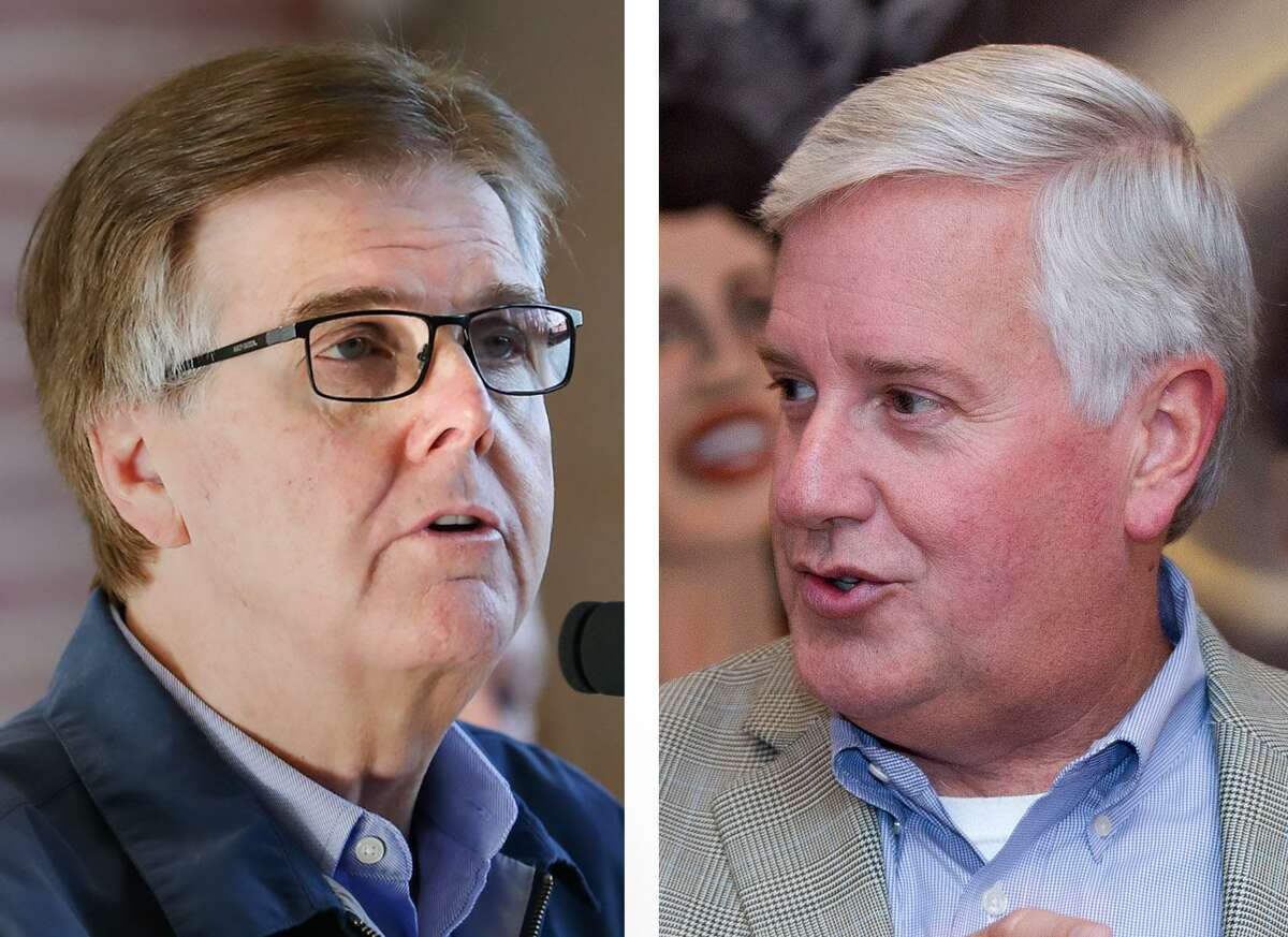 Left, Lt. Gov. Dan Patrick speaks during an Oct. 16, 2017 event in New Caney. Right, Mike Collier, Democratic candidate for Lt. Governor at an event Oct. 3, 2017 in Shenandoah.