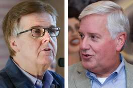 Texas Lt. Gov. Dan Patrick, left, is facing Democratic challenger Mike Collier, an accounting executive, in the November general election.