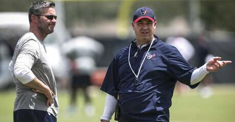 Houston Texans general manager Brian Gaine, left, and head coach Bill O'Brien talks during mini camp at The Methodist Training Center on Wednesday, June 13, 2018, in Houston. ( Brett Coomer / Houston Chronicle )