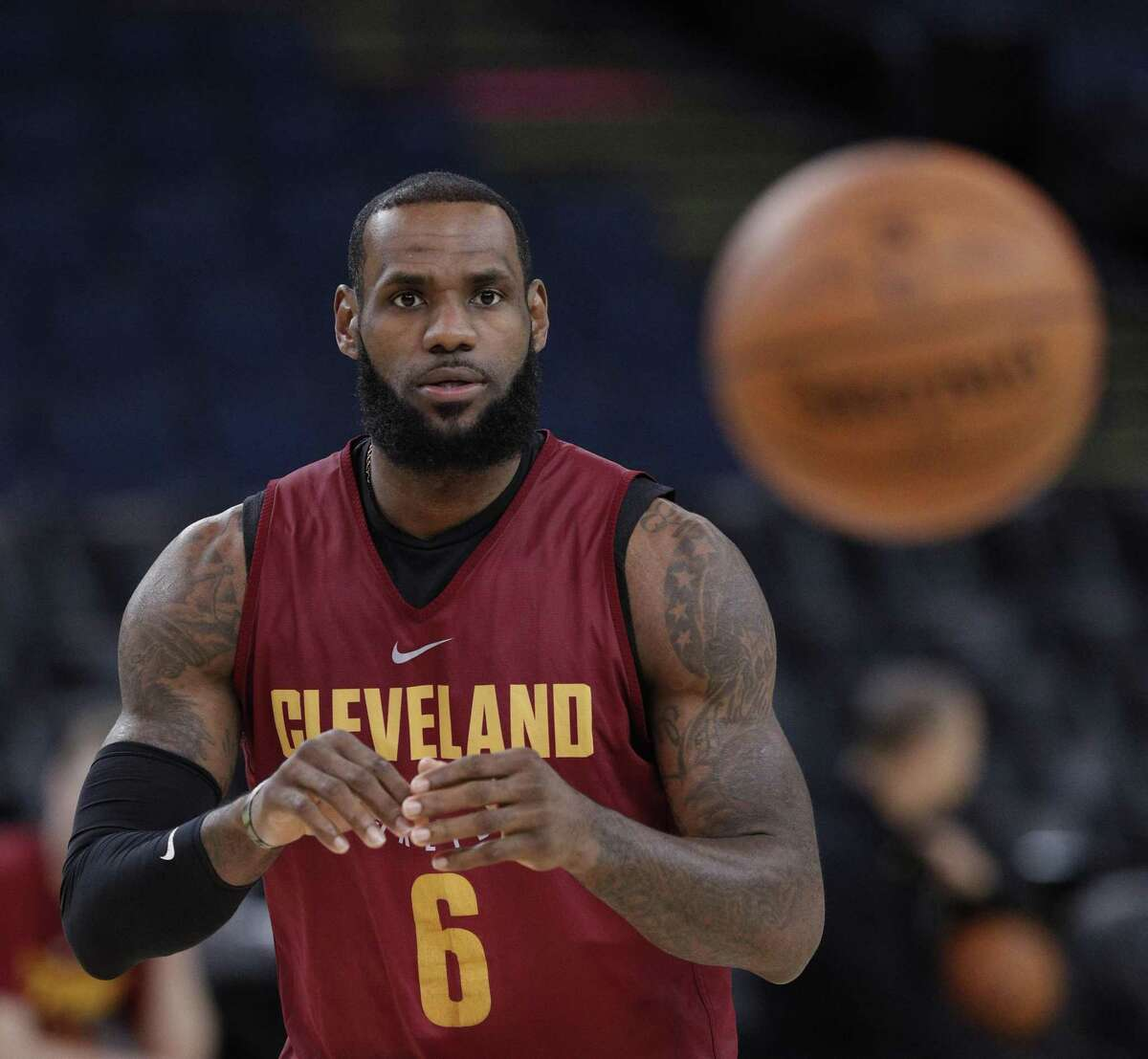 LeBron James (23) waits for a pass during an off day practice and media day at Oracle Arena before the Golden State Warriors play the Cleveland Cavaliers in Game 1 of the NBA Finals in Oakland, Calif, on Wednesday, May 30, 2018.