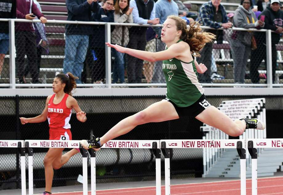 Darcy Cook of New Milford got sixth in the 300 hurdles at the State Open Track Championships at Willow Brook Park in New Britain, June 4, 2018. Photo: Krista Benson / The News-Times Freelance