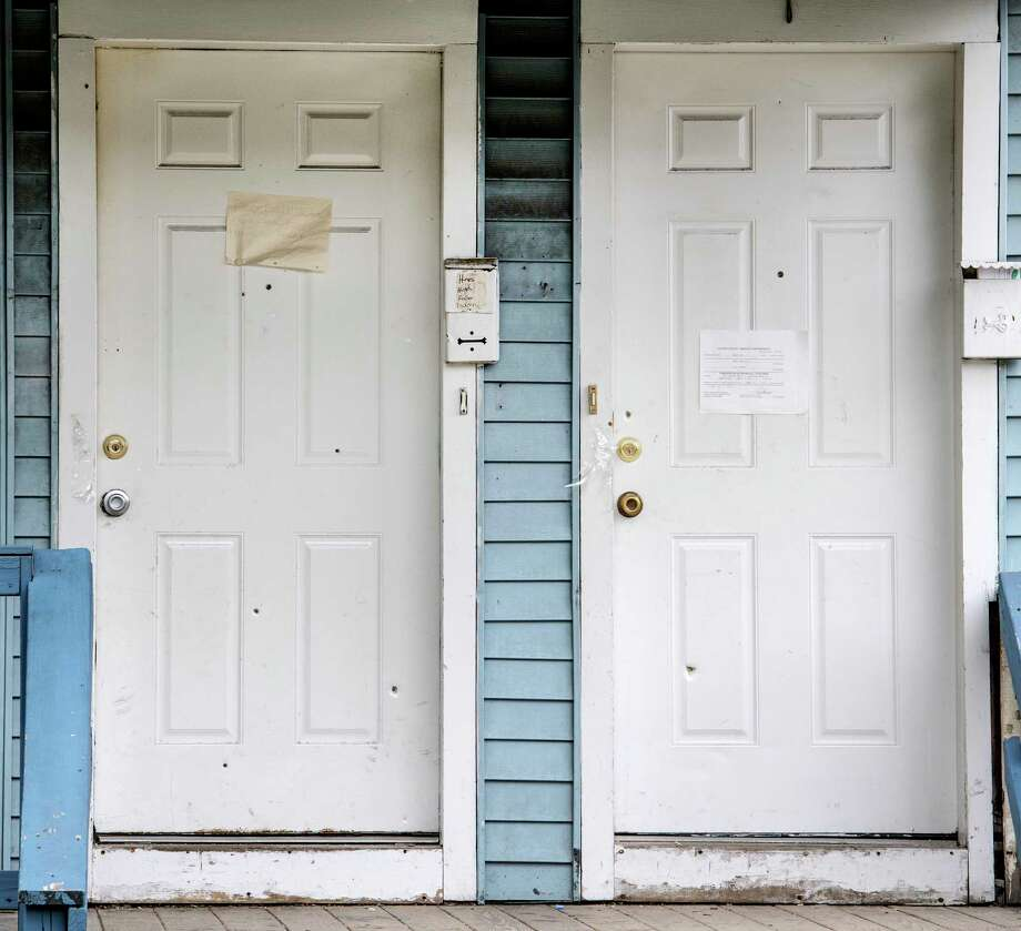 The scene of a murder at 448 Livingston Avenue June 13, 2018 which shows signs of bullet holes on the front door which occurred last evening in Albany, N.Y.  (Skip Dickstein/Times Union) Photo: SKIP DICKSTEIN