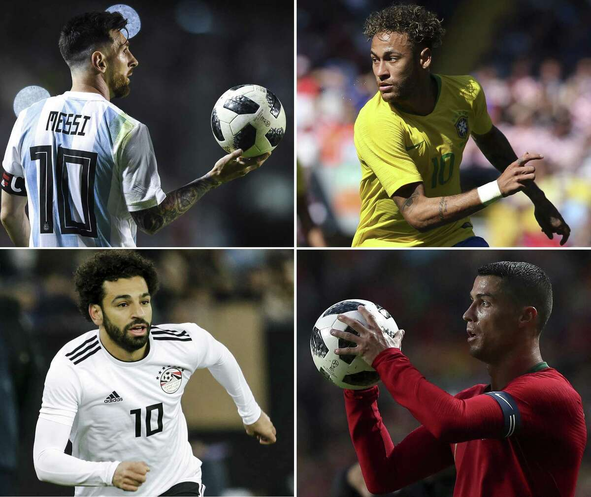 Lionel Messi (top left clockwise) of Argentina holds the ball during an international friendly match between Argentina and Haiti at Alberto J. Armando Stadium on May 29, 2018 in Buenos Aires, Argentina. ; Neymar of Brazil during the International friendly match between Croatia and Brazil at Anfield on June 3, 2018 in Liverpool, England. ; Portugal's forward Cristiano Ronaldo in action during the FIFA World Cup Russia 2018 preparation football match Portugal vs Algeria, at the Luz stadium in Lisbon, Portugal, on June 7, 2018. ; Mohamed Salah of Egypt during the International Friendly match between Egypt v Portugal at the Letzigrund Stadium on March 23, 2018 in Zurich Switzerland.