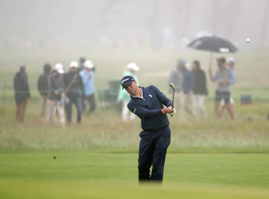 Justin Thomas hits off the eighth fairway during a practice round for the U.S. Open Golf Championship, Wednesday, June 13, 2018, in Southampton, N.Y. (AP Photo/Julio Cortez) Photo: Julio Cortez / Copyright 2018 The Associated Press. All rights reserved.