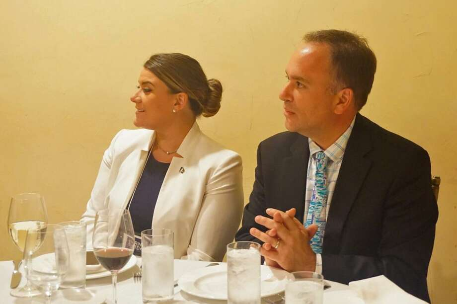Republican lieutenant governor candidate Erin Stewart and her former running mate Peter Tesei, first selectman of Greenwich, sat next to each other at a Republican Town Committee dinner at Gabriele's Italian Steakhouse in Greenwich, Conn. on Wednesday June 13, 2018. Photo: Emilie Munson / Hearst Connecticut Media / Connecticut Post