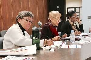 Bridgeport BOE finance staff Elizabeth Mauer and Marlene Siegel, along with Superintendent Aresta Johnson present budget plan to school board's finance committee