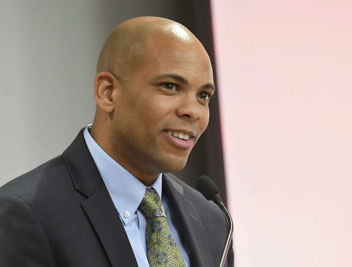 Siena men's basketball coach Jamion Christian speaks during the Times Union's Inaugural High School Sports Awards at the Hearst Media Center on Wednesday, June 13, 2018 in Colonie, N.Y. (Lori Van Buren/Times Union)