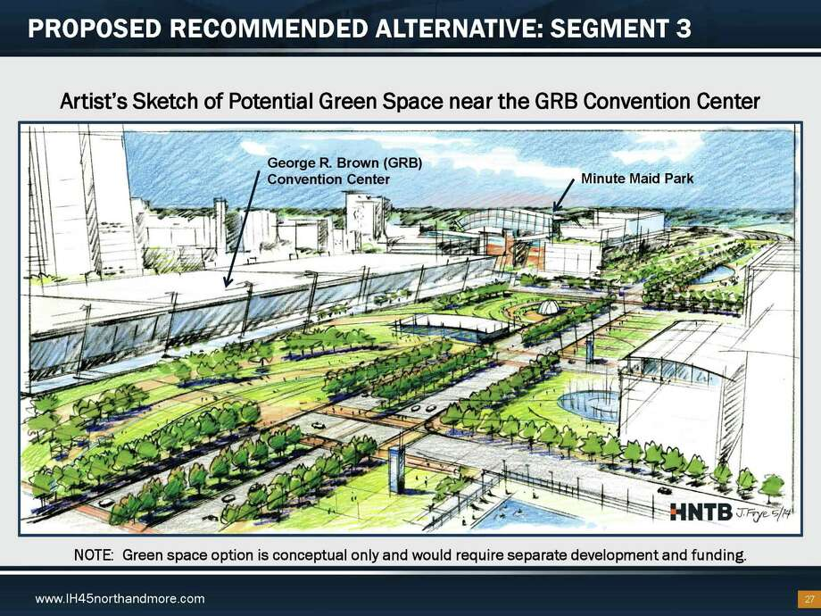 Plans call for a green space atop depressed sections of Interstate 45 and Interstate 69 as part of a major redesign of downtown Houston freeways. State transportation officials, however, will not fund any park development, as seen in this 2015 rendering of the project. Photo: Texas Department Of Transportation/HNTB / Texas Department Of Transportation/HNTB