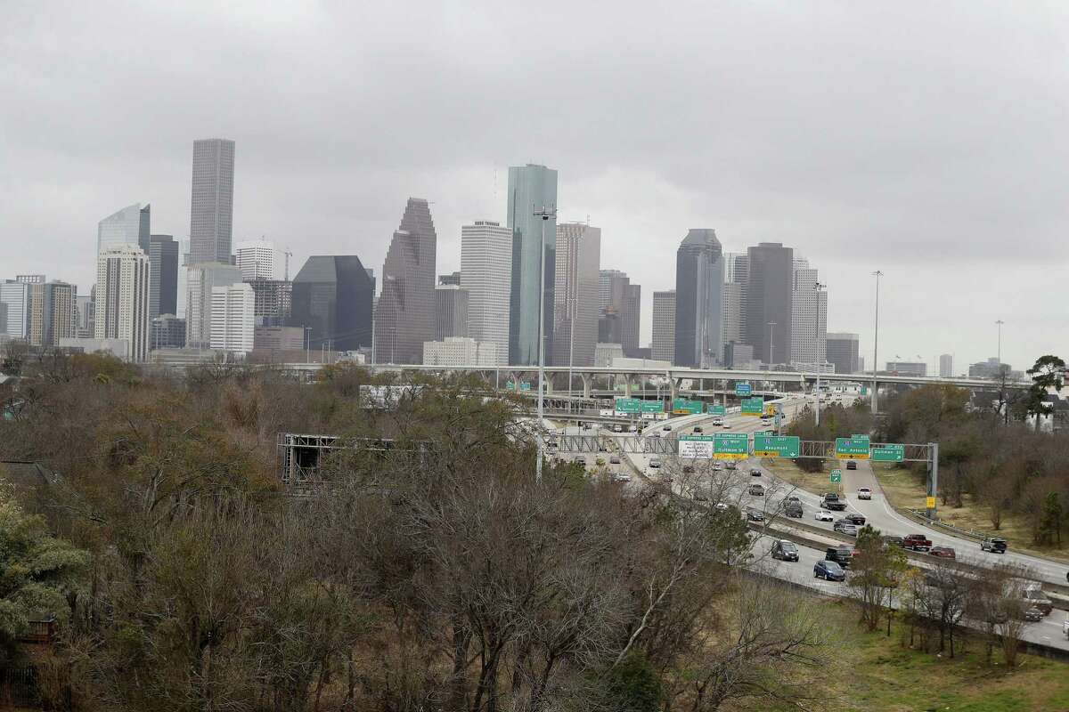 View while standing in The Raven's Tower, overlooking the area on the near Northside of town that the massive Interstate 45 widening project would impact, shown on Jan. 26.