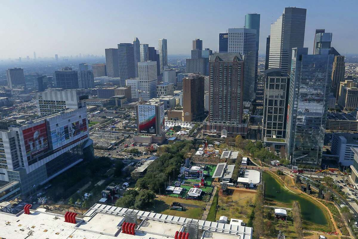 An aerial view of Discovery Green and Super Bowl Live from a Customs and Border Protection UH-60 Black Hawk helicopter before Super Bowl LI on Feb. 2. The park, just outisde the George R. Brown Convention Center, was the epicenter of local Super Bowl festivities.
