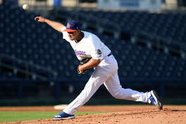 RockHounds pitcher Norge Ruiz throws against Corpus Christi June 13, 2018, at Security Bank Ballpark. James Durbin/Reporter-Telegram