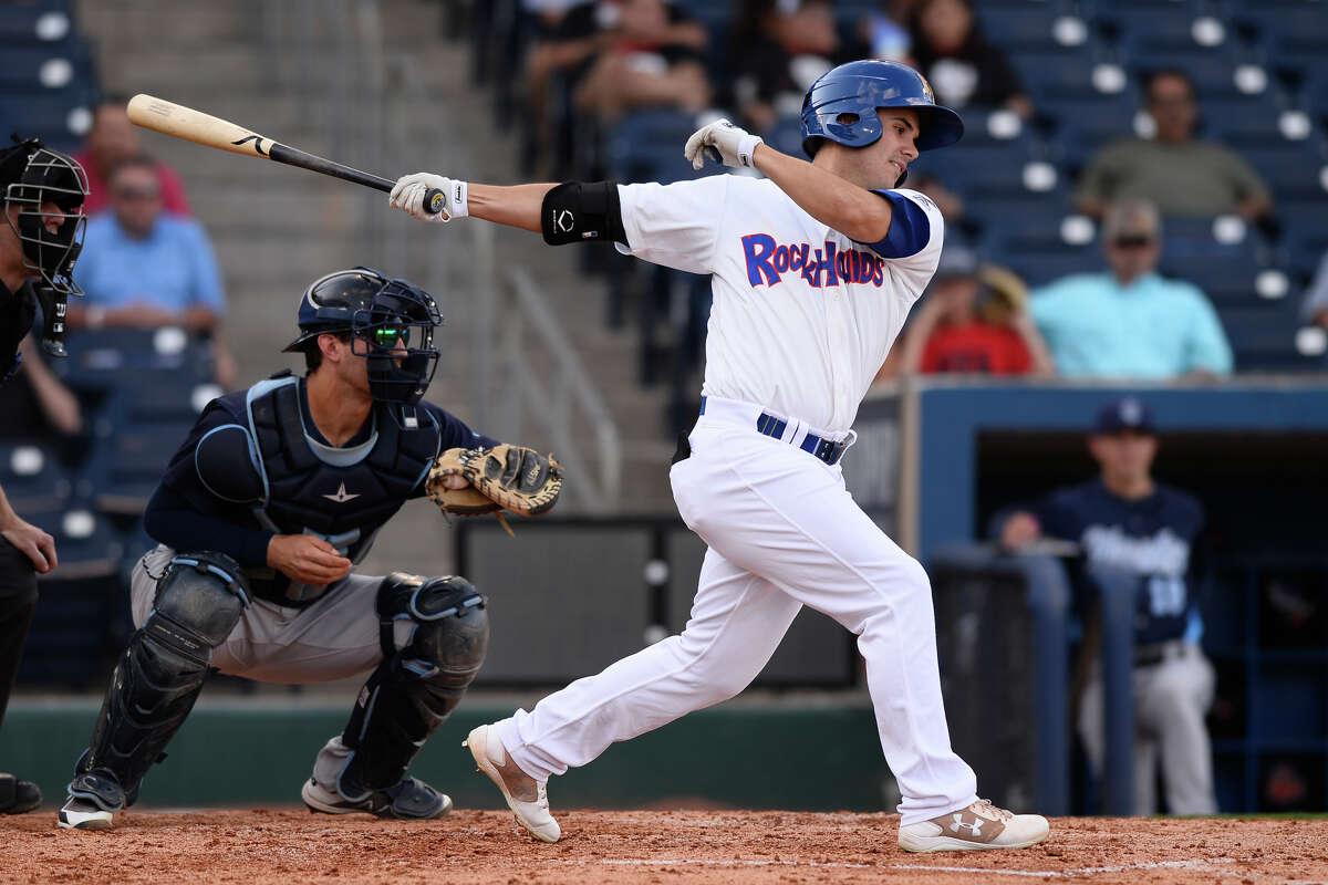 RockHounds' Tyler Ramirez swings against Corpus Christi June 13, 2018, at Security Bank Ballpark. James Durbin/Reporter-Telegram