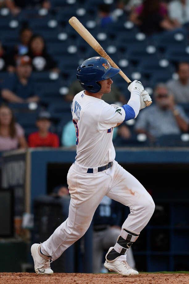 RockHounds' Eli White hits against Corpus Christi June 13, 2018, at Security Bank Ballpark. James Durbin/Reporter-Telegram Photo: James Durbin / ? 2018 Midland Reporter-Telegram. All Rights Reserved.