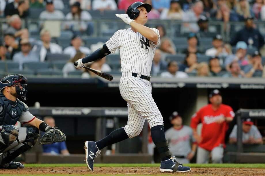 NEW YORK, NY - JUNE 13:  Greg Bird #33 of the New York Yankees follows through on a home run in the second inning against the Washington Nationals at Yankee Stadium on June 13, 2018 in the Bronx borough of New York City.  (Photo by Jim McIsaac/Getty Images) Photo: Jim McIsaac / 2018 Getty Images