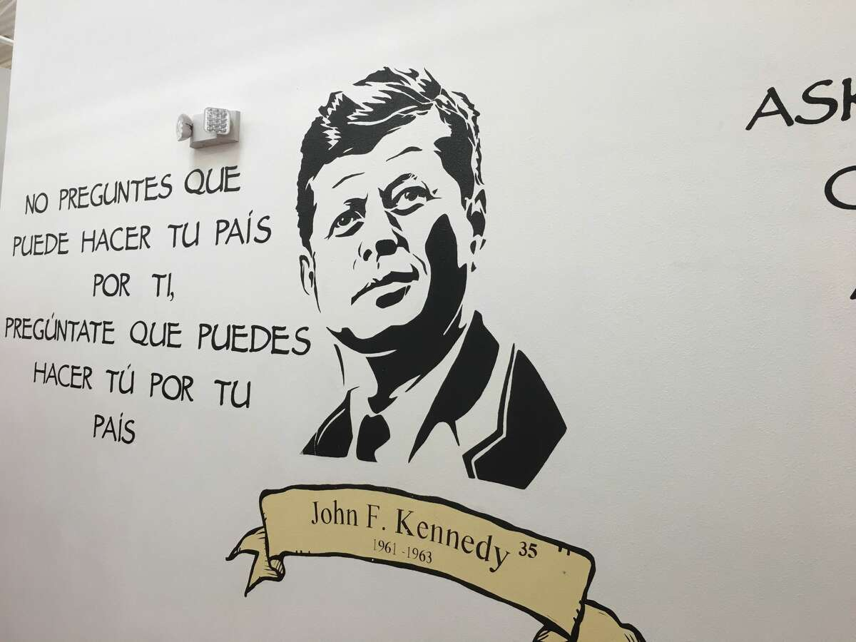 These are the murals on the walls of Southwest Key Program's Casa Padre in Brownsville a shelter for unaccompanied minors left at the border.