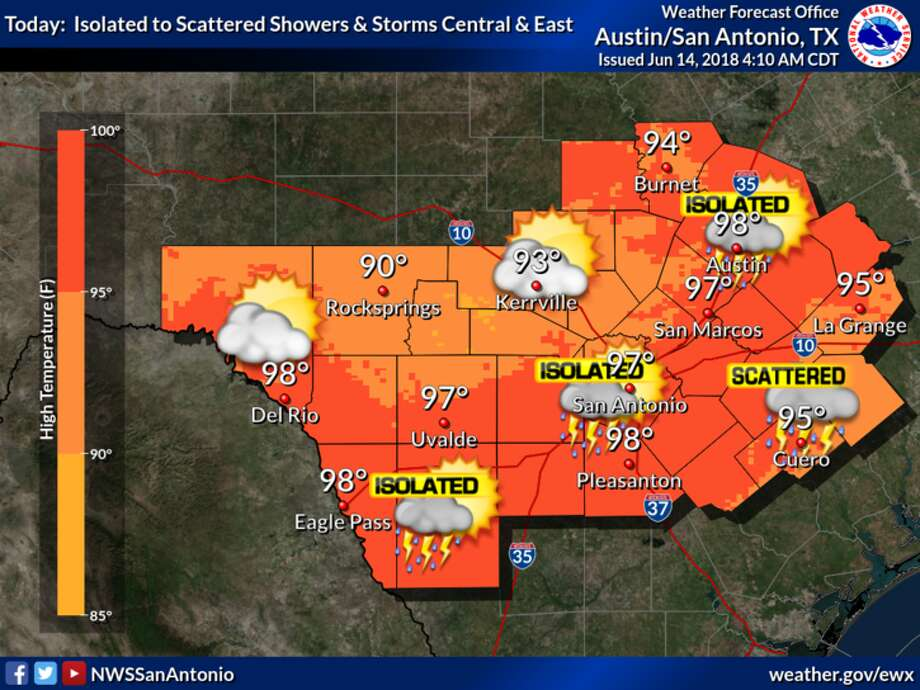Isolated areas of San Antonio may get as many as 7 inches of rain by Wednesday, according the National Weather Service. Most parts of the city can expect an average 2-3 inches in that same time span. (Courtesy of the National Weather Service) Photo: Courtesy Of National Weather Service