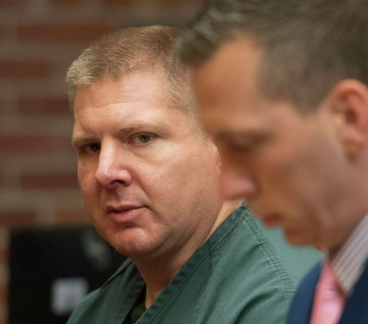 Former Saratoga County Sheriff's Deputy Shawn Glans, left appears with his attorney Marc R. Pallozzi, right for his sentencing in front of Judge Felix Catena sitting in for Judge James Murphy in Saratoga County Court Thursday June 14, 2018 Ballston Spa, N.Y. (Skip Dickstein/Times Union)