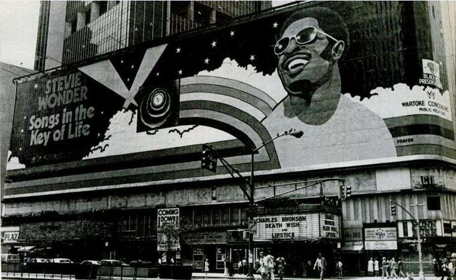 "One of Frank ""Fraver"" Verlizzo's most monumental works spanned the length of Broadway from 45th to 46th streets, a teaser to Stevie Wonder's groundbreaking 1976 opus, ""Songs in the Key of Life."" Photo: Contributed Photo"