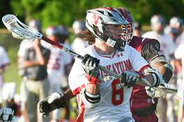 NiskayunaOs Eoghan Sweeney (8) scores against Kingston during a New York State Public High School Athletic Association Class A Boys' Regional Lacrosse game Wednesday, May 30, 2018, in East Greenbush, N.Y. (Hans Pennink / Special to the Times Union)
