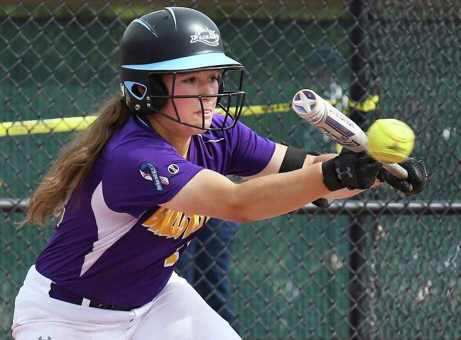 Ballston Spa's #11 Angelina Stile lays down a bunt during their win over East Meadow in a Class AA State Semifinal game Saturday June 9, 2018 in Moreau, NY.  (John Carl D'Annibale/Times Union) Photo: John Carl D'Annibale / 20044004A