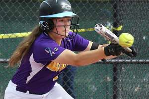 Ballston Spa's #11 Angelina Stile lays down a bunt during their win over East Meadow in a Class AA State Semifinal game Saturday June 9, 2018 in Moreau, NY.  (John Carl D'Annibale/Times Union)