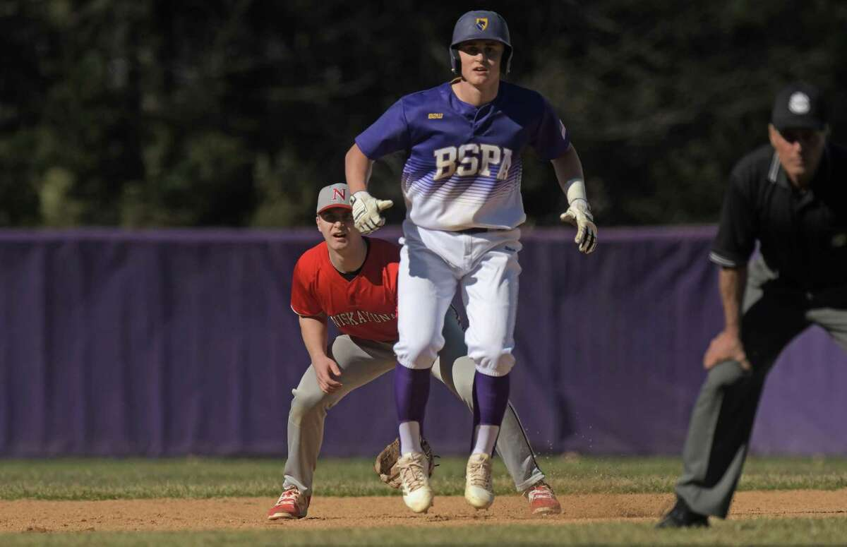 Luke Gold of Ballston Spa leads off second base during the Ballston Spa and Niskayuna baseball game on Monday, April 23, 2018, in Ballston Spa, N.Y. (Paul Buckowski/Times Union)