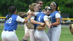 Ichabod Crane players celebrate their victory over Olean in  the Class B semifinal in Moreau, N.Y., on Saturday, Jun. 9, 2018.  (Jenn March, Special to the )