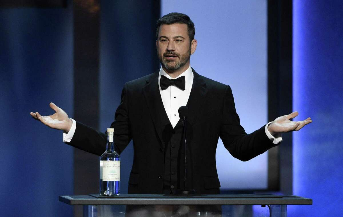 Comedian Jimmy Kimmel addresses the audience during the 46th AFI Life Achievement Award gala ceremony honoring actor/director George Clooney at the Dolby Theatre, Thursday, June 7, 2018, in Los Angeles. (Photo by Chris Pizzello/Invision/AP)