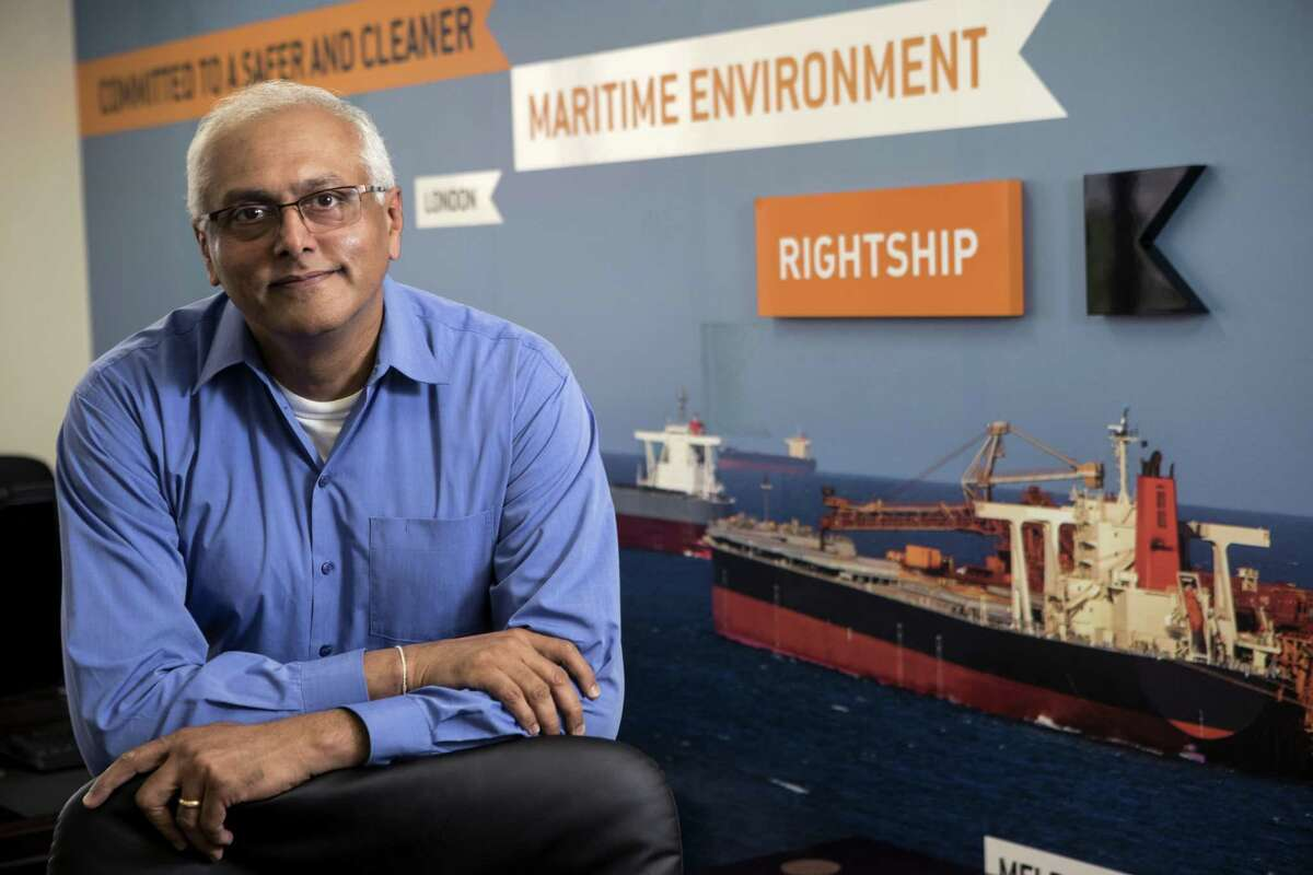 Capt. Anuj Chopra, vice president of the Americas for RightShip, poses for a portrait in the company's Texas office on Friday, June 1, 2018, in Sugar Land. ( Brett Coomer / Houston Chronicle )