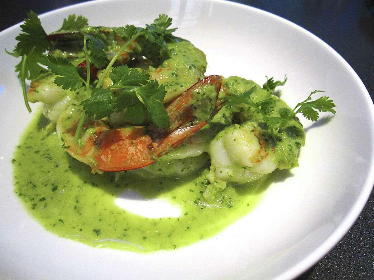 Green harissa shrimp with white wine, cream and cilantro from Rebelle