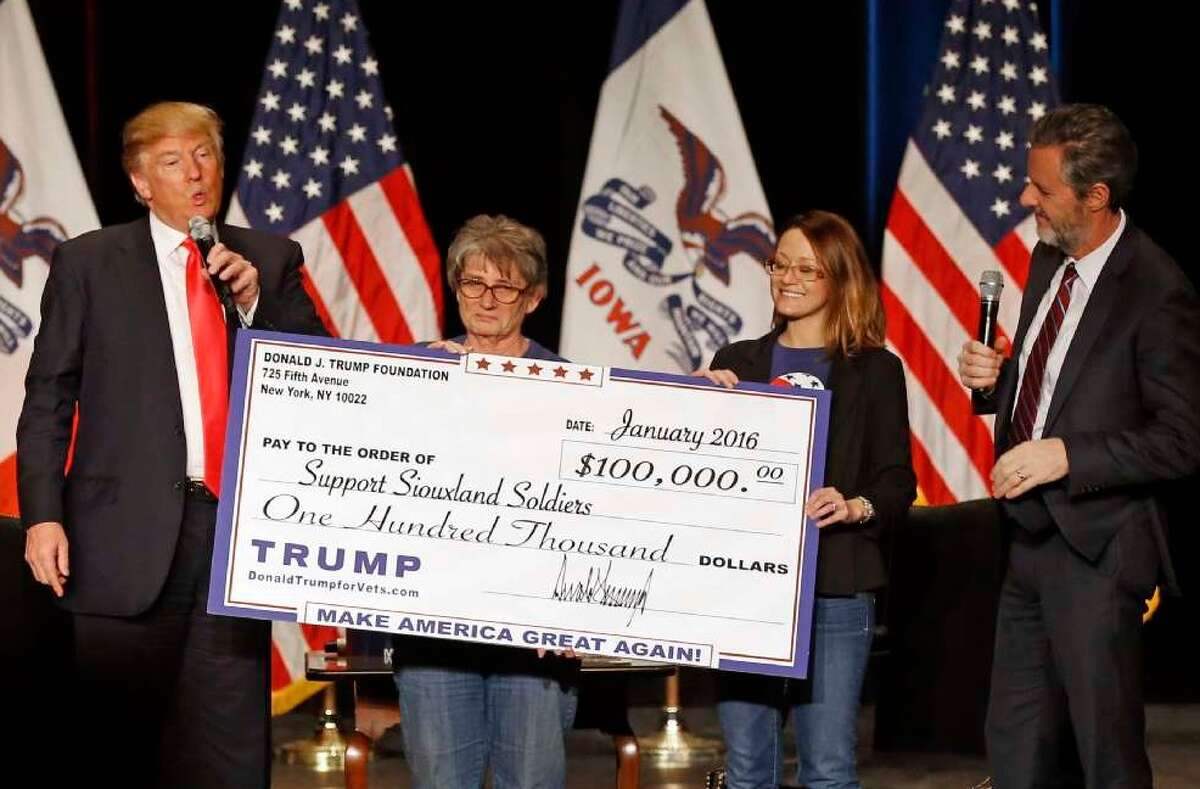 During a campaign stop in 2016, Donald Trump presented a donation from his charitable foundation. The state attorney general alleges this represented an improper entanglement between the campaign and charity.