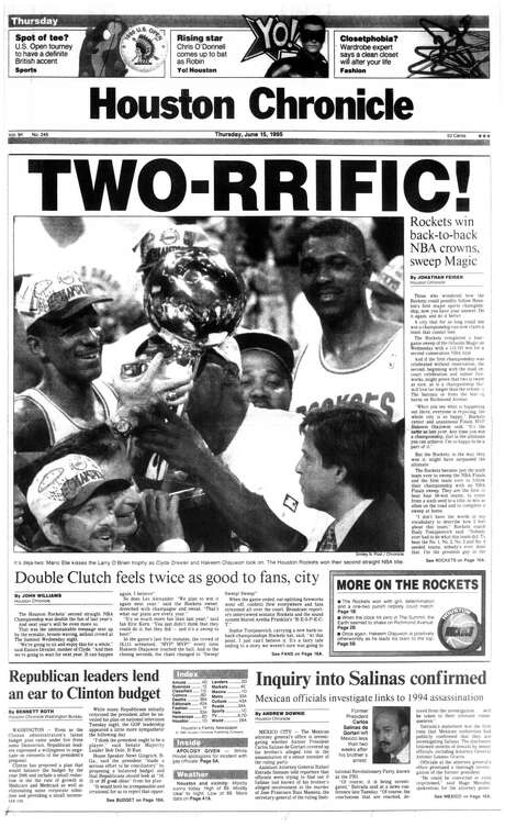 The Houston Chronicle's front page from June 15, 1995, after the Rockets swept Orlando for their second consecutive NBA championship. Photo: Houston Chronicle / Houston Chronicle