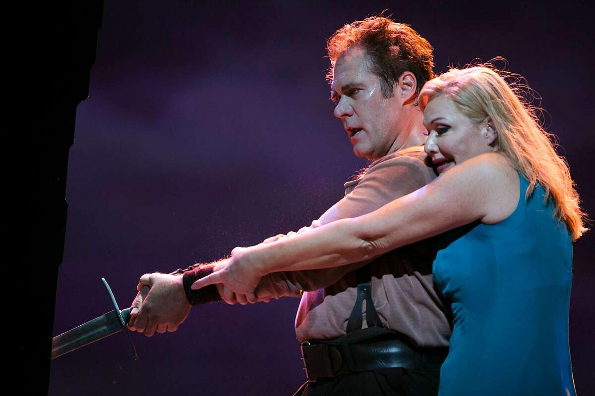 """From left, Brandon Jovanovich and Karita Mattila play Siegmund and Sieglinde during the dress rehearsal of """"Die Walk�re"""", part two of four in Richard Wagner's """"Ring"""" cycle, was performed as part of the San Francisco Opera at the War Memorial Theater in San Francisco, Calif. on Thursday evening, June 7, 2018."""