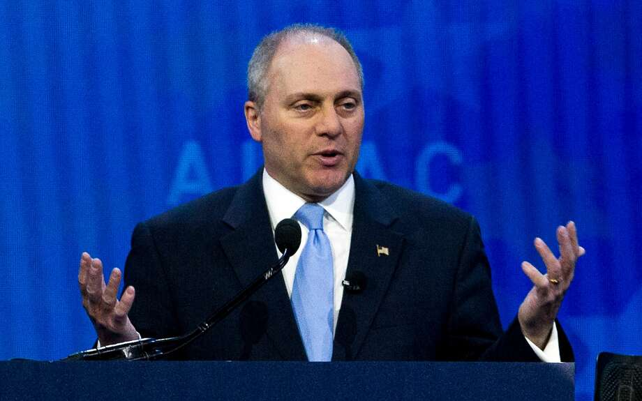 FILE - In this March 6, 2018, file photo, House Republican Whip Steve Scalise speaks at the 2018 American Israel Public Affairs Committee (AIPAC) policy conference in Washington. In the year since Scalise and others were wounded during a shooting rampage at a congressional baseball practice, mass shootings have occurred at a Texas church, a Las Vegas music festival and schools in Florida and Texas. Each incident is jarring, but GOP lawmakers say their views on gun control have not changed. (AP Photo/Jose Luis Magana, File) Photo: Jose Luis Magana / Associated Press