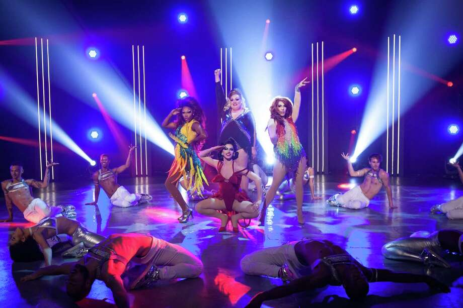 The final four compete in a singing and dancing challenge on RuPaul's Drag Race. Photo: VH1