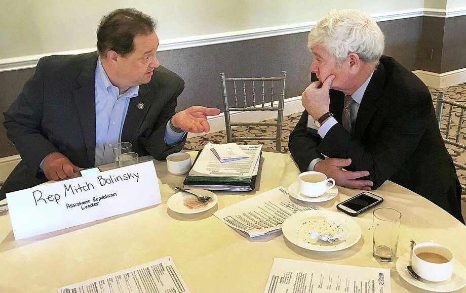 State Rep. Mitch Bolinsky, R-Newtown, talks with Irv Goldstein of Berkshire Broadcasting during a CBIA and Greater Danbury Chamber of Commerce breakfast event held Thursday, June 14, 2018, at Ridgewood Country Club in Danbury Country Club. Photo: Chris Bosak / Hearst Connecticut Media / The News-Times