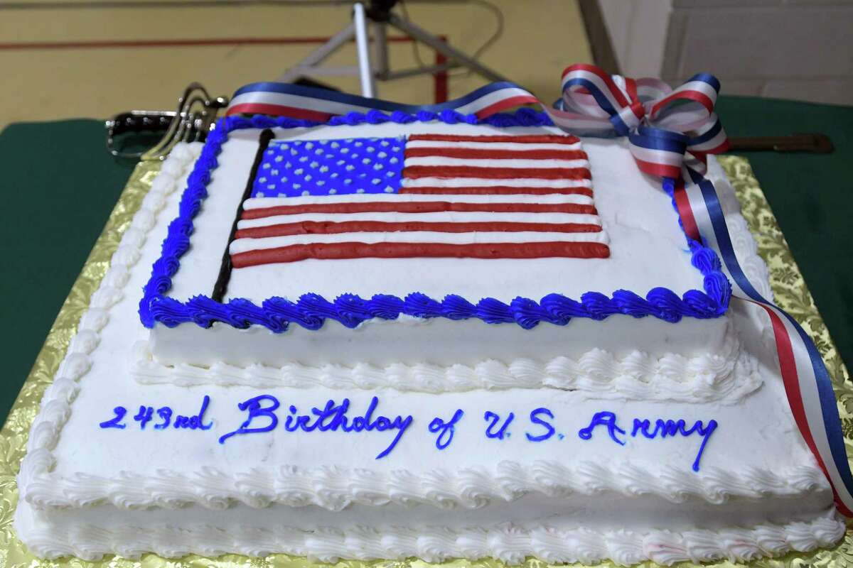 A view of a cake at an event at the New York State Division of Military and Naval Affairs Headquarters to celebrate the 243rd birthday of the United States Army on Thursday, June 14, 2018, in Latham, N.Y. (Paul Buckowski/Times Union)