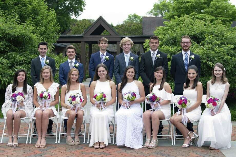 Fairfield residents, back row, from left, Matthew Hochberg, Sam Stuart, Jake Sinnott, Jack Soper, Conrad White and Tyler Bieder; and front row from left, Molly Mitchell, Sophie Lewis, Kate Flicker, Ellen Burbank, Alex Wagner, Laine Capshaw, Caroline Telesz and Bailey Mooney were among 82 graduates from Greens Farms Academy on June 7. Mitchell was salutatorian for the class of 2018. During the Commencement week ceremonies, Flicker received the Head of School Award and was named to the Cum Laude Society. Telesz received the Angela Van Acker Award for initiative and commitment to community service at Greens Farms Academy and either local or global service to others. Wagner received the Marijane Beltz Sportsmanship Award, and Mooney received the Whittle Award for ability and interest in the study of history. Photo: /