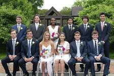 Westport and Weston residents, back row from left, Ryan Ventura, Milo Becker, Ililta Pina, Arman Ozgen, Jack Murray and James Velgot; and front row from left, Wren Ferris, Henry Holzinger, Georgia Ferris, Alessia Getschow, Steffen Refvik and Henry Corroon were among 82 graduates from Greens Farms Academy on June 7. Velgot and Holzinger both received the Edward J. Denes, Jr. Outstanding Athlete Award. Pina received the Music Award, and Reffvik was named to the Cum Laude Society.