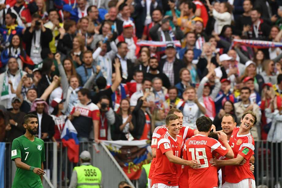 Russia's players gave the home fans quite a lot to cheer about in celebrate after scoring five goals against Saudi Arabia at the Luzhniki Stadium in Moscow. Photo: Kirill Kudryavtsev / AFP / Getty Images