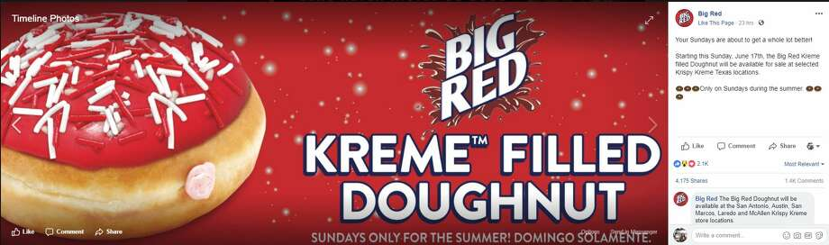 Krispy Kreme is bringing back its Big Red doughnut this summer. Photo: Facebook/Big Red