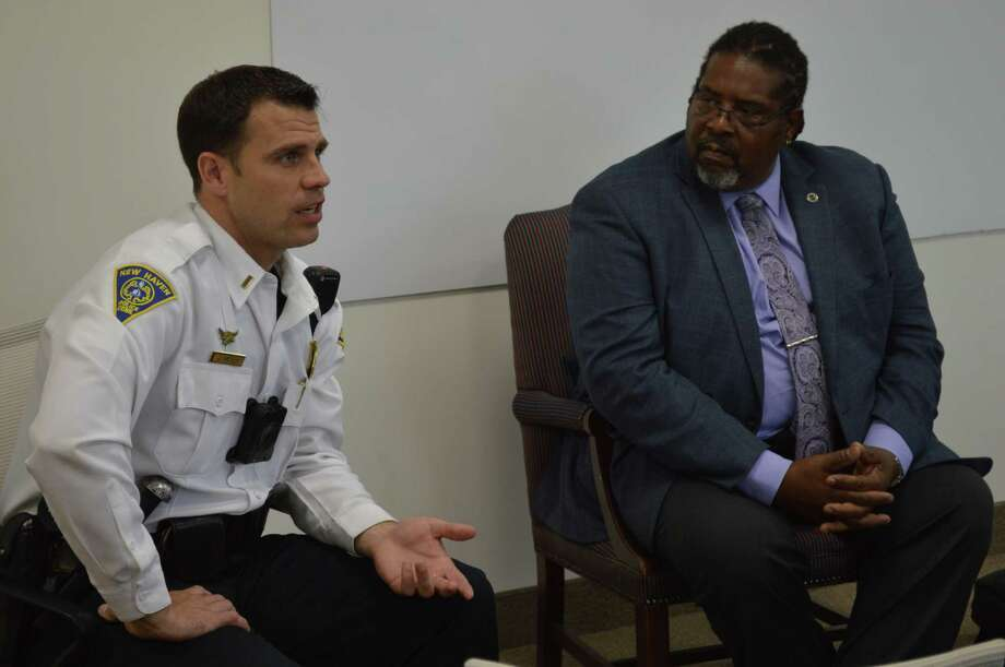 Project Longevity of New Haven held a dialogue with area law enforcement and residents to build better relations between the communities. Photo: Clare Dignan / Hearst Connecticut Media /