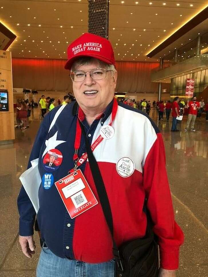 Michael Bergsma,  the Nueces County  GOP chair in Corpus Christi, attends the Republican Party of Texas annual convention in San Antonio, Texas on June 14, 2018.