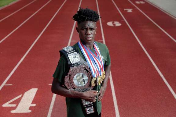 Kesean Carter, the All-Greater Houston Male Track Athlete of the Year, on the track at The Woodlands High School in The Woodlands, TX Tuesday, May 30, 2018. (Michael Wyke / For the  Chronicle)