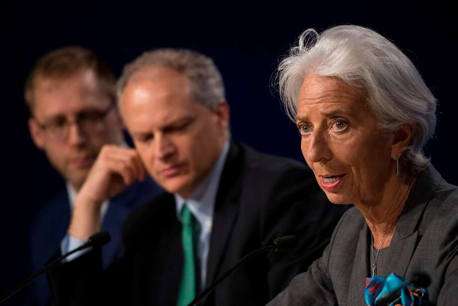 International Monetary Fund director Christine Lagarde discusses the annual review of the U.S. economy during a news conference in Washington, D.C. Photo: Andrew Caballero-Reynolds / AFP / Getty Images