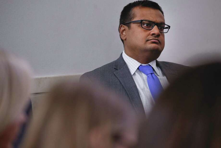 Deputy White House press secretary Raj Shah, watches White House press secretary Sarah Huckabee Sanders speak to the media during the daily press briefing in the Brady Press Briefing Room of the White House, Thursday, June 14, 2018. Shah, a Norwalk native is one of the fresh crop of Trump White House staffers rumored to be headed for the exits. Photo: Pablo Martinez Monsivais / Associated Press / Copyright 2018 The Associated Press. All rights reserved.