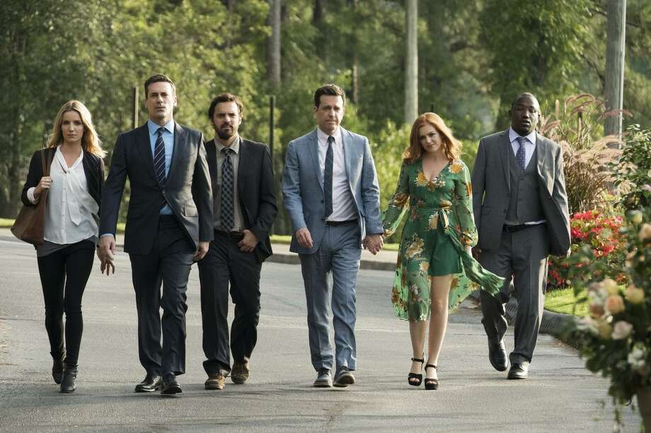 "Annabelle Wallis (left), Jon Hamm, Jake Johnson, Ed Helms, Isla Fischer and Hannibal Buress in ""Tag,"" which has five grown men in an annual game that's been going on for decades. Click through to find out what new selections are available on streaming services this month. >>>  Photo: Warner Bros. / © 2017 Warner Bros. Entertainment Inc. and RatPac-Dune Entertainment LLC All Rights Reserved"