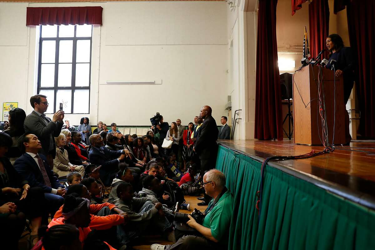 San Francisco Mayor-elect London Breed speaks during a mayoral campaign victory speech at Rosa Parks Elementary in San Francisco, Calif. on Thursday, June 14, 2018.