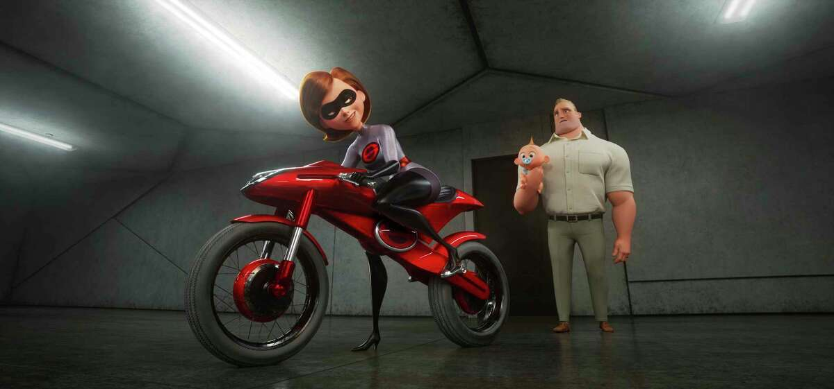 This image released by Disney Pixar shows the character Helen/Elastigirl, voiced by Holly Hunter, left, and Bob/Mr. Incredible, voiced by Craig T. Nelson in