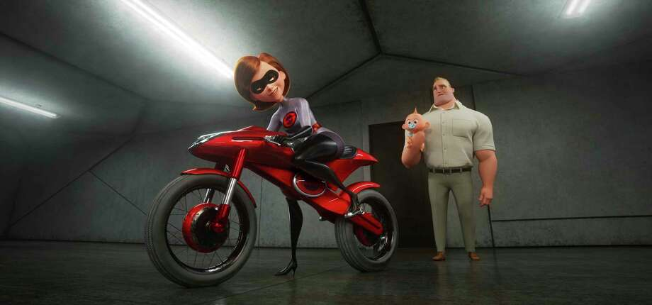 "This image released by Disney Pixar shows the character Helen/Elastigirl, voiced by Holly Hunter, left, and Bob/Mr. Incredible, voiced by Craig T. Nelson in ""Incredibles 2,"" in theaters on June 15.  (Disney/Pixar via AP) Photo: Pixar / ©2017 DisneyïPixar. All Rights Reserved."